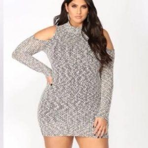 Fashion Nova  Sweater tshirt cold shoulder dress